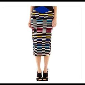 Bisou Bisou multi color pencil skirt S